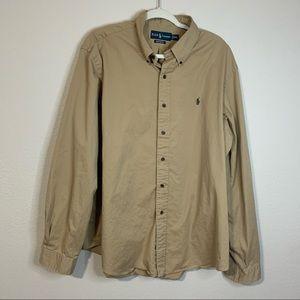 Ralph Lauren Classic Dress Shirt Tan Brown XXL 2XL